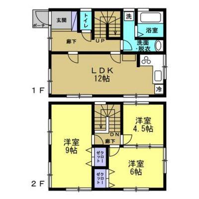 1階は12帖のLDKと水回り、2階は9帖と6帖と4.5帖の洋室の3LDKの間取です(間取)